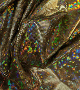 Metallic Hologram Foil Spandex GOLD/BLACK