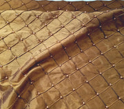 "Embroidered W/Beads Pintuck Silk Dupioni 50"" BROWN"