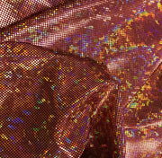 Metallic Hologram Foil Spandex BURGUNDY/ORANGE
