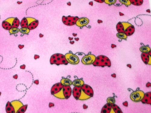 Premium Anti-Pill Lady Bugs Pink Fleece C157