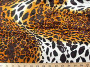 Cheetah Charmeuse Satin LEOPARD BROWN BLACK LOT 2 CH-3