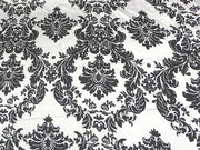 Damask Charmeuse Satin SILVER WHITE