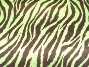 Zebra Charmeuse Satin LIME/BROWN