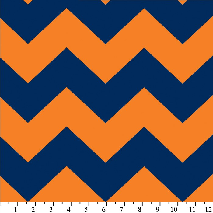 Premium Anti-Pill Chevron Stripes Blue Orange Fleece 411