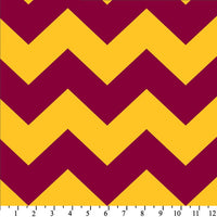 Premium Anti-Pill Chevron Stripes Burgundy Gold Fleece 510