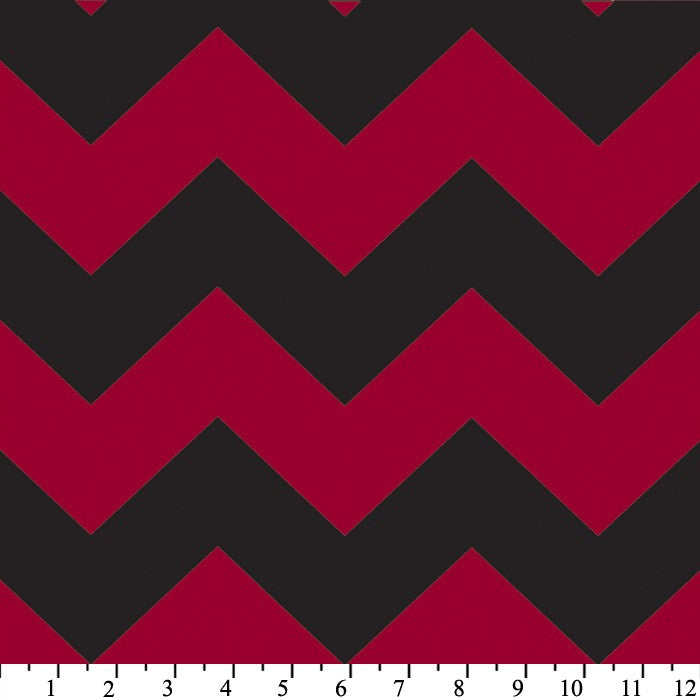 Premium Anti-Pill Chevron Stripes Red Black Fleece 410