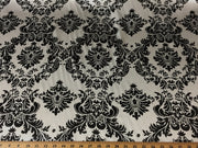 Damask Black White Charmeuse Satin