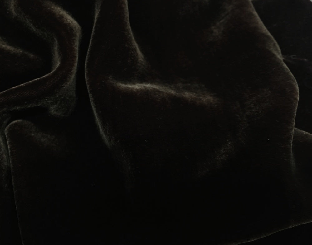 "Plush Silk Velvet 44"" Wide DARK BROWN"