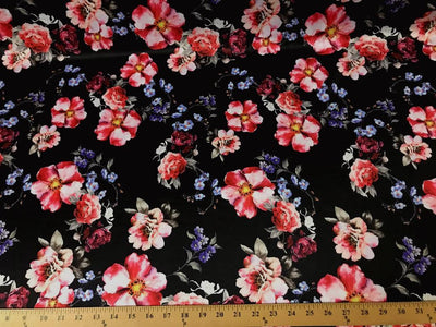 Black DCS-10 Floral Dull Medium Weight Charmeuse Satin