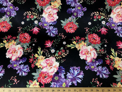 Black DCS-4 Floral Dull Medium Weight Charmeuse Satin