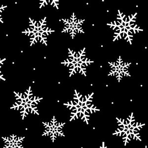 Anti-Pill Snowflakes Allover Black Fleece 158