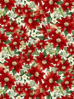Anti-Pill American Greetings Poinsettia Allover Fleece 445
