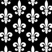 Premium Anti-Pill Fleur De Lis Black White Fleece 581