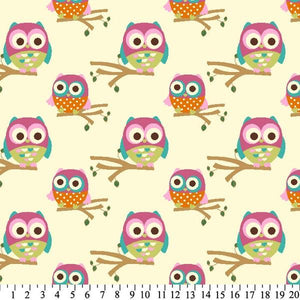 Premium Anti-Pill Owls On Branches Cream Fleece 612