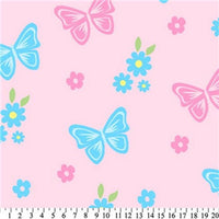Premium Anti-Pill Butterflies & Flowers Pink Fleece 614