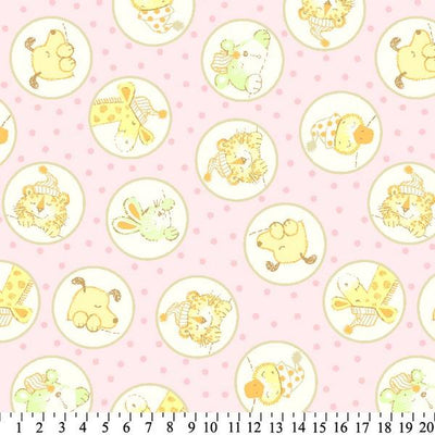 Anti-Pill Baby Animals In Circles Pink Fleece 619