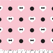 Premium Anti-Pill Fifi & Romeo Heart Polka Dot Pink Fleece 621