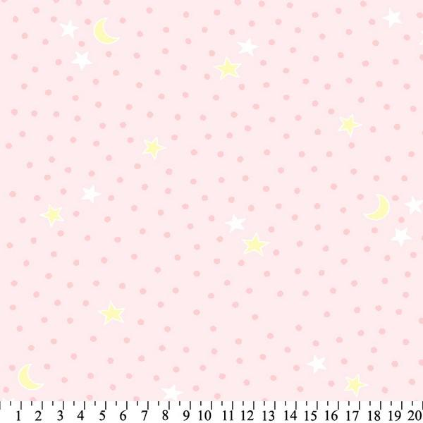 Anti-Pill Dots Stars Pink Yellow Fleece 622