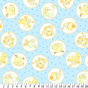 Anti-Pill Baby Animals In Circles Blue Fleece 653