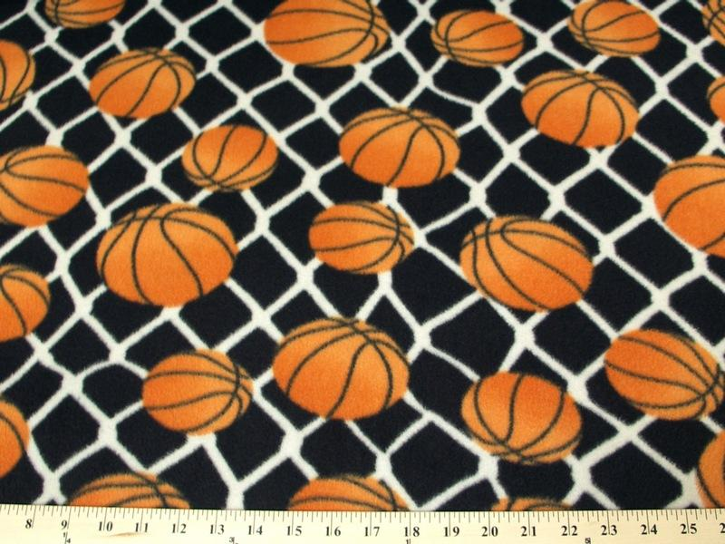 "Premium Anti-Pill Basketballs On Black Fleece 306 ""LAST PIECE MEASURES 1 YARD 14 INCHES"""