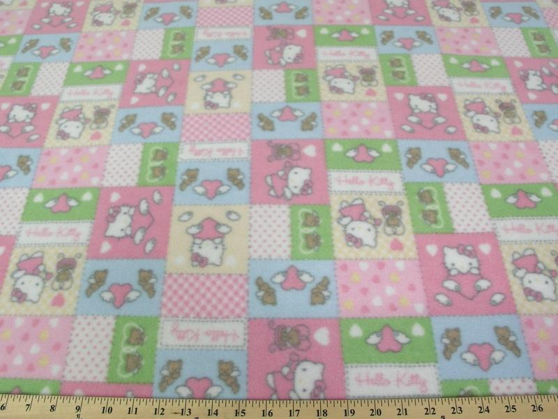 Anti-Pill Hello Kitty Patchwork Pink Multi Colored Fleece A14