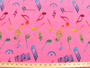 Anti-Pill Hot Pink Multi Color Music Notes Fleece A50