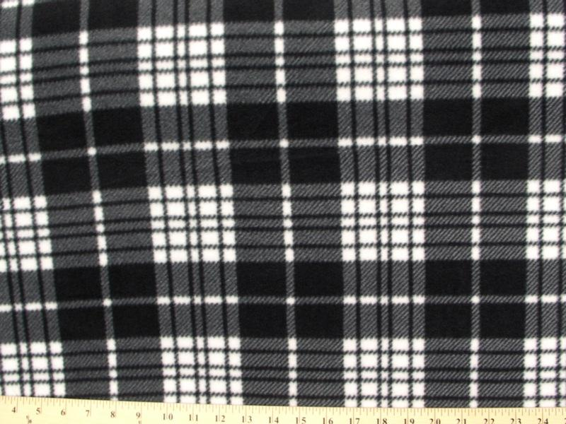 Anti-Pill Charcoal White Plaid Fleece 388