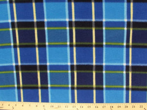 Anti-Pill Royal Navy Turquoise Plaid Fleece 389