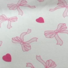 Ribbons Hearts Pink Fleece 28