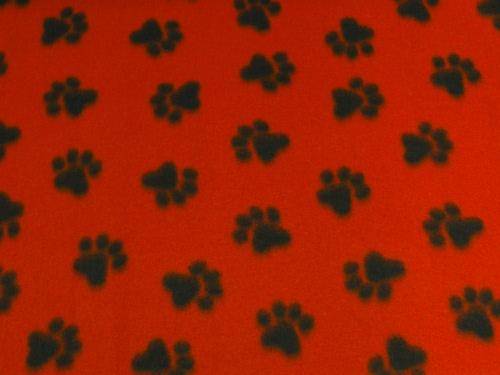 Paw Prints Med Red Fleece 304