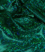 Metallic Hologram Foil Spandex GREEN/BLACK