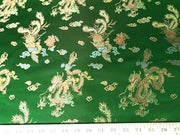 Chinese Satin Dragon/Phoenix Brocade Green