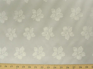 Floral Satin Brocade Off-White Hibiscus