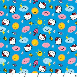 Hello Kitty Rain Or Shine Tossed Icons Blue Cotton HK-25