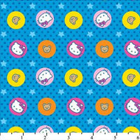 Hello Kitty Big Top Circles & Stars Blue Cotton HK-29
