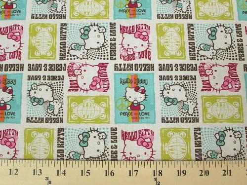 Hello Kitty Peace & Love Aqua Multi Cotton HK-5