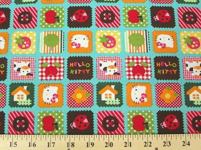 Hello Kitty Country Quilting Aqua Cotton HK-9