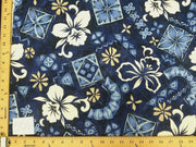 Blue Hibiscus Hawaiian Floral Barkcloth Dobby Cotton HP-501