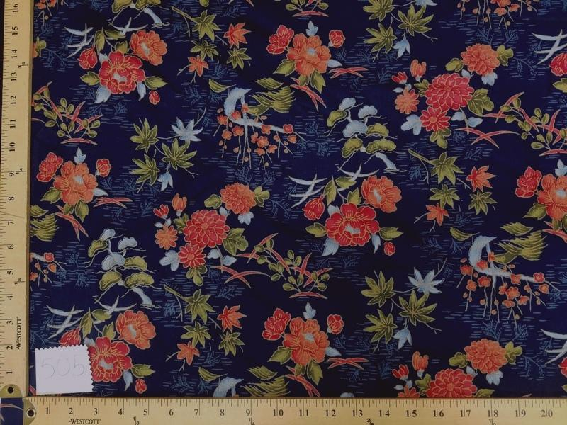 Navy Blue Hawaiian Floral Cotton HP-505