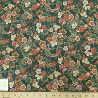 "Dark Olive Hawaiian Floral Cotton HP-506 ""LAST PIECE MEASURES 17 INCHES"""