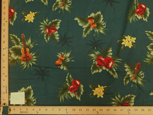 Dark Teal Ukulele Hawaiian Floral Cotton HP-507