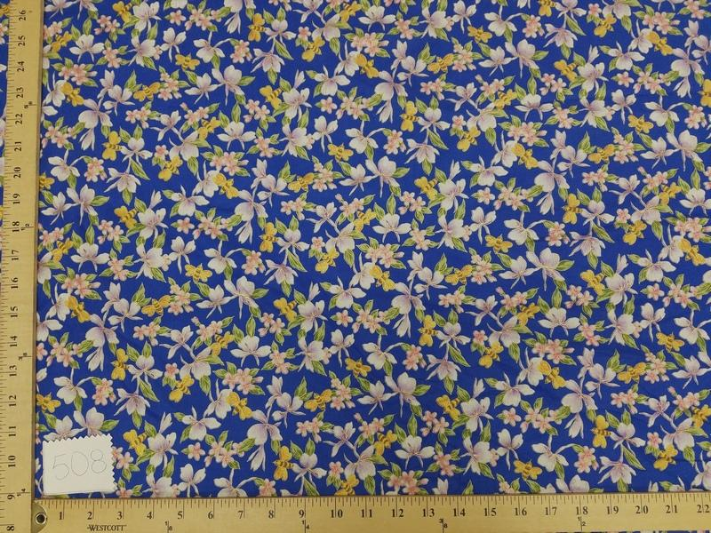 Royal Blue Hawaiian Floral Cotton HP-508