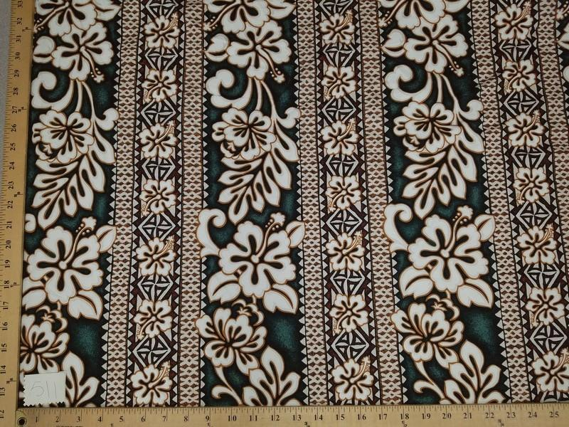 Brown Green Hibiscus Monstera Hawaiian Floral Cotton HP-511