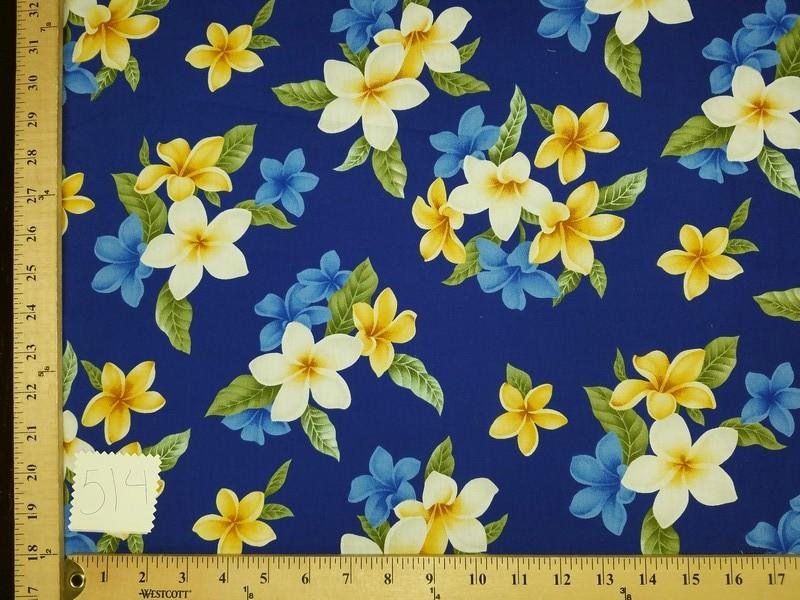 Royal Purple Plumeria Hawaiian Floral Cotton HP-514