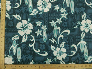 Teal Hibiscus Surfboard Hawaiian Floral Cotton HP-515