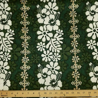 Green Hibiscus Hawaiian Floral Barkcloth Cotton HP-518
