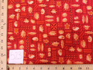 Red Orange Turtles Fish Hawaiian Cotton HP-523