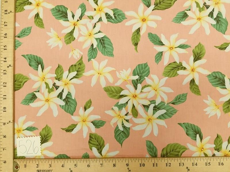 Peach Hawaiian Floral Cotton HP-526