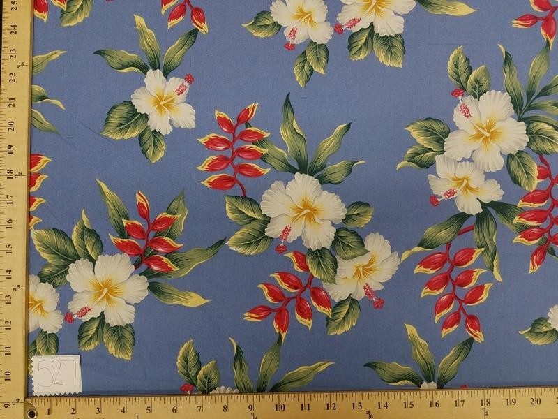 Blue Hibiscus Hawaiian Floral Cotton HP-527