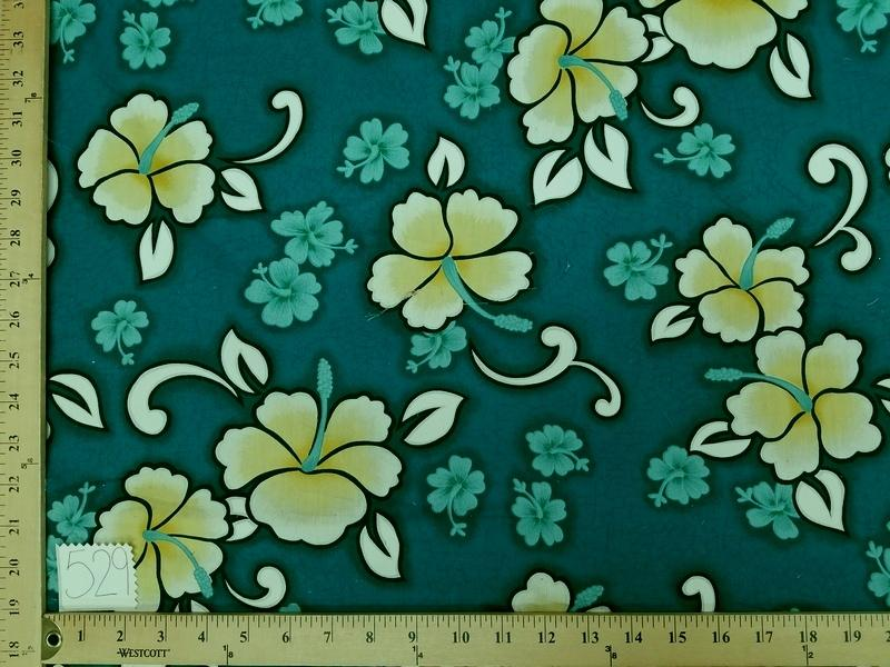 Teal Hibiscus Hawaiian Floral Cotton HP-529